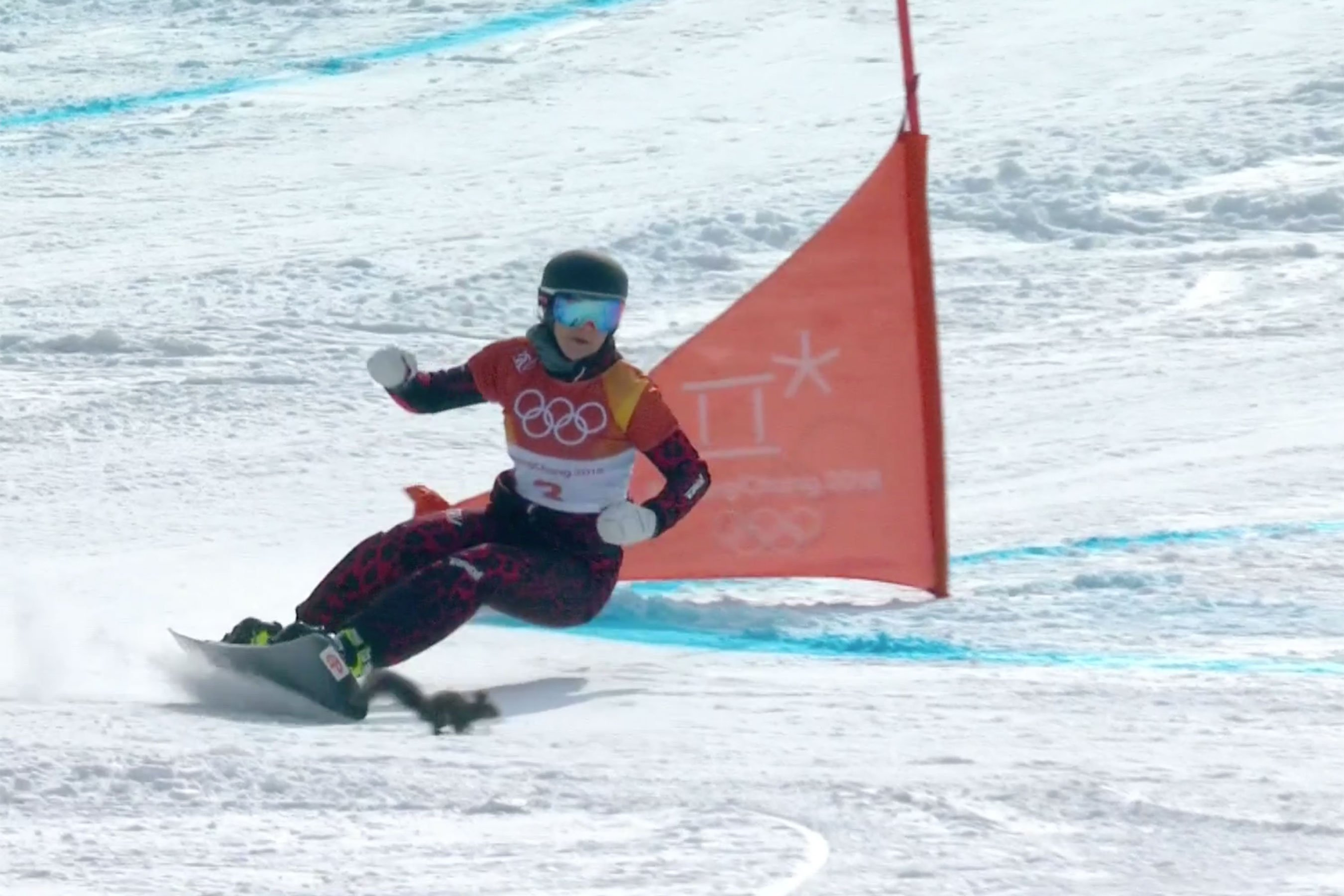 Olympics: Snowboarder Daniela Ulbing and squirrel nearly collide