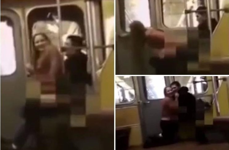 Randy couple romp on a moving train in front of shocked commuters