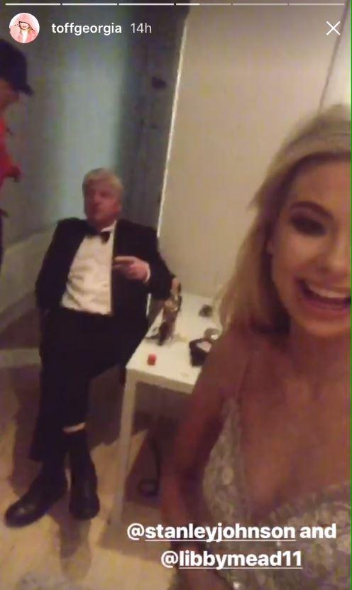 Georgia Toffolo posts video of her and Stanley Johnson at swanky Tory ball but party donors who shelled out up to £15,000 to rub shoulders with the PM left in the cold for an hour