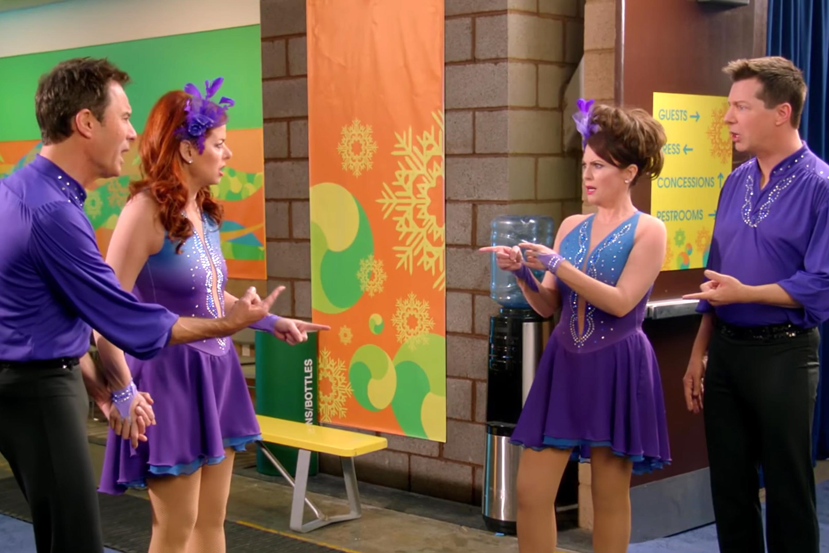 Olympics: Will & Grace stars don purple Lycra to explain their NBC absence