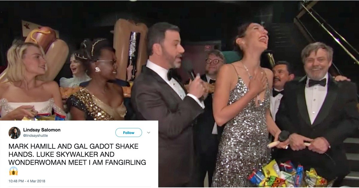 Mark Hamill Innocently Introducing Himself to Gal Gadot at the Oscars Is Just So Effing Pure