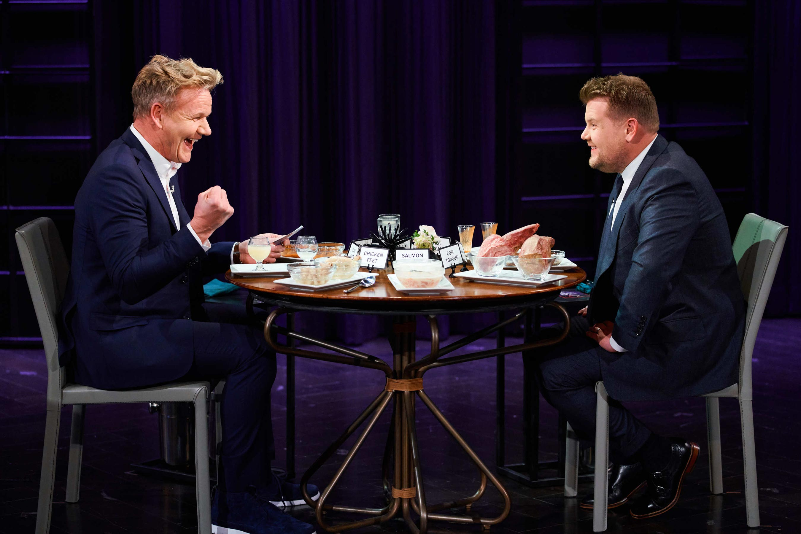 Gordon Ramsay eats gross things with James Corden on Late Late Show