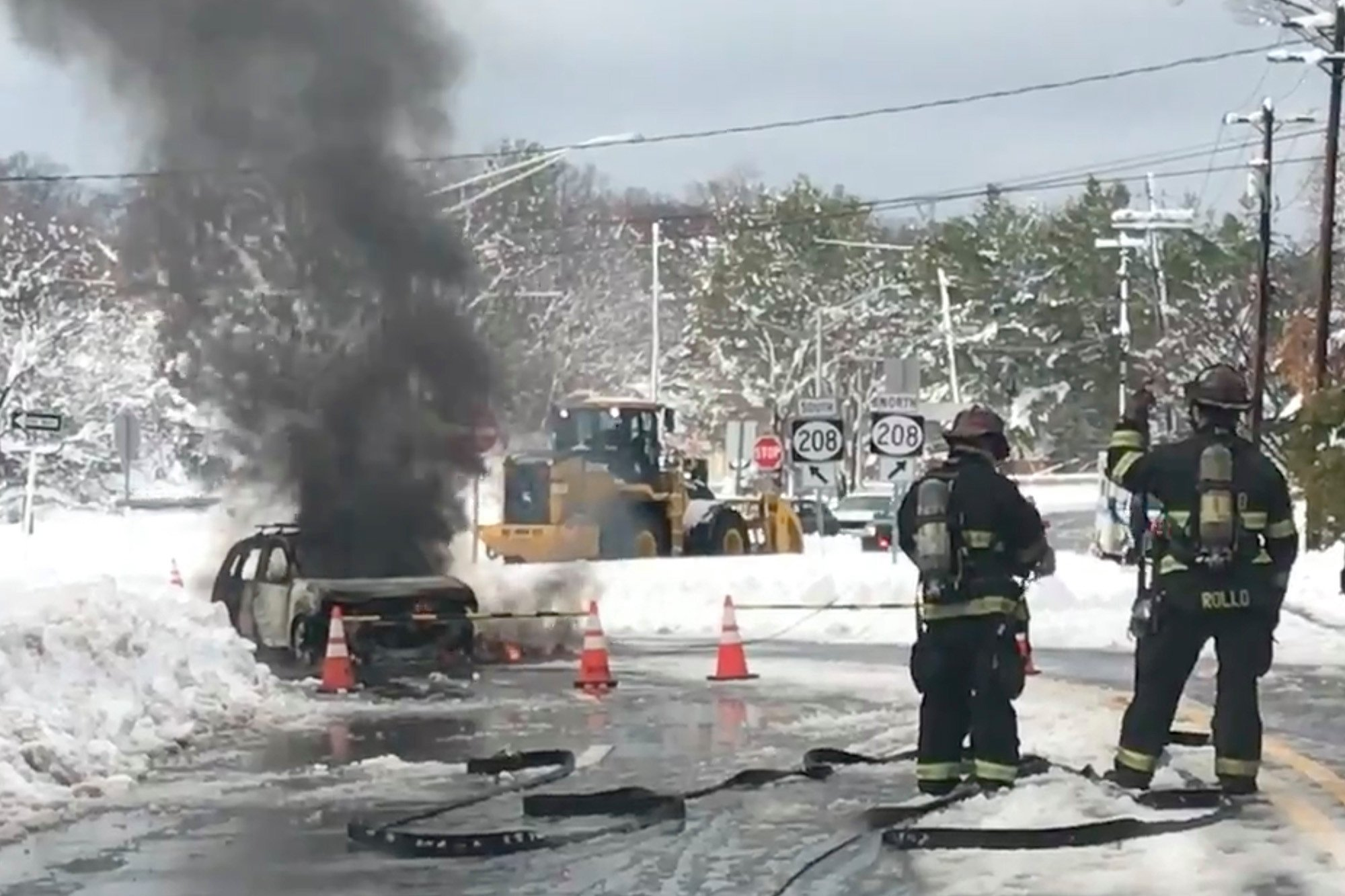 Fatal car fire after driver tries to avoid downed power line