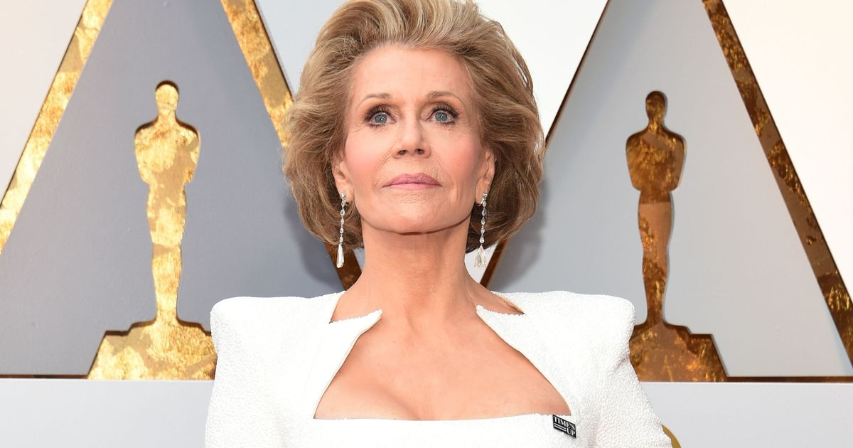 Jane Fonda's white Oscars dress sets her Time's Up badge off perfectly