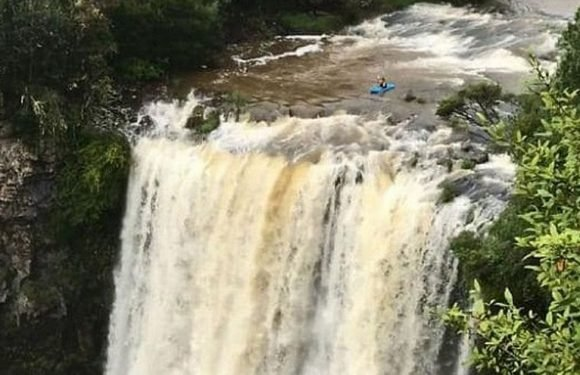 Kayaker cheats death plunging down 20m waterfall at deadly swimming spot