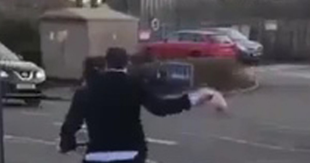 'Lidl worker' appears to strike man on bike with leg of pork
