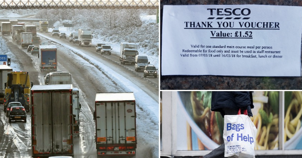 Tesco staff handed £1.52 food voucher as 'reward' for battling through snow