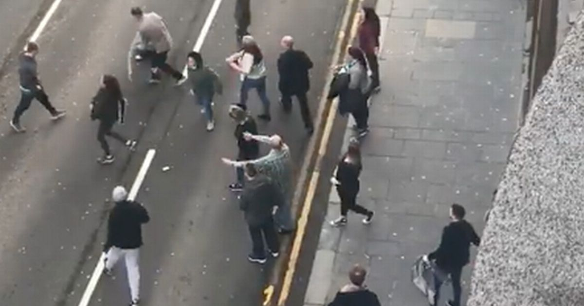 Huge fight breaks out on Glasgow street after 'Old Firm' clash