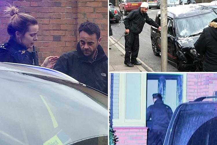Moment Ant McPartlin arrives home at 2.40am after being in police custody for ten hours over 'drink drive crash'