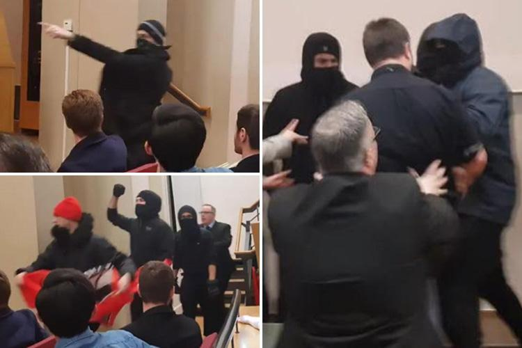 Moment masked protesters storm King's College London free speech event as punches are thrown and smoke bombs let off