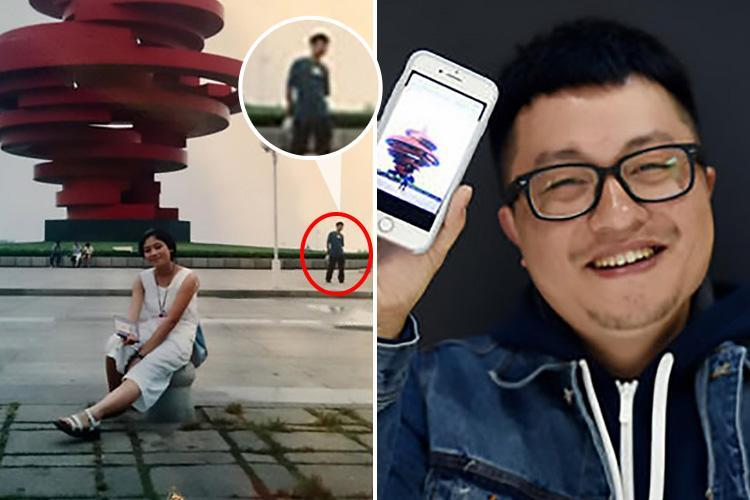 Amazed husband convinced his marriage was meant to be after spotting HIMSELF in a tourist snap taken by his wife 18 years ago