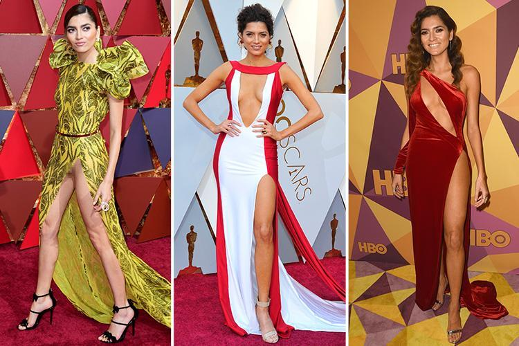 From red at the Golden Globes to her frontless Oscars ...