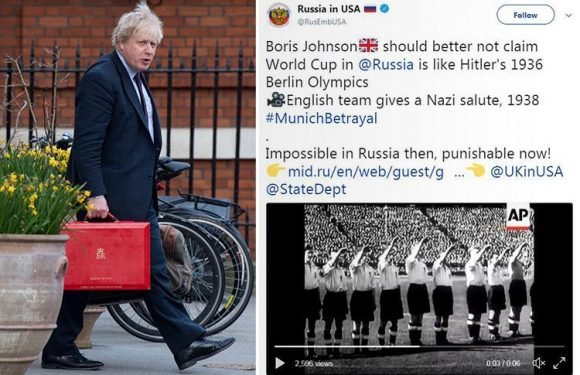 Russian diplomats troll Boris Johnson for comparing Putin's World Cup to Hitler's Olympics with tweet showing England's footballers giving Nazi salute in 1938