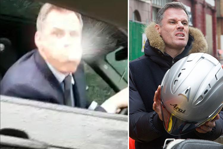 Jamie Carragher breaks cover after spitting video storm as he arrives in London ahead of Sky Sports showdown talks TODAY