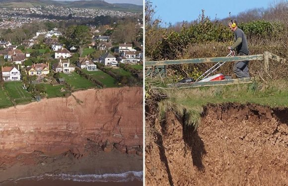 Gardener spotted merrily mowing lawn just yards from where cliff fell 100ft into sea moments before