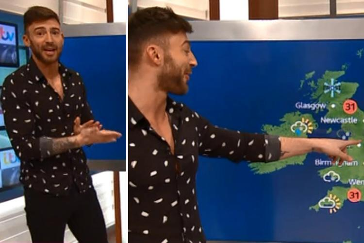 Jake Quickenden takes over Good Morning Britain weather in hilarious skit as he predicts a heat wave in London and Manchester