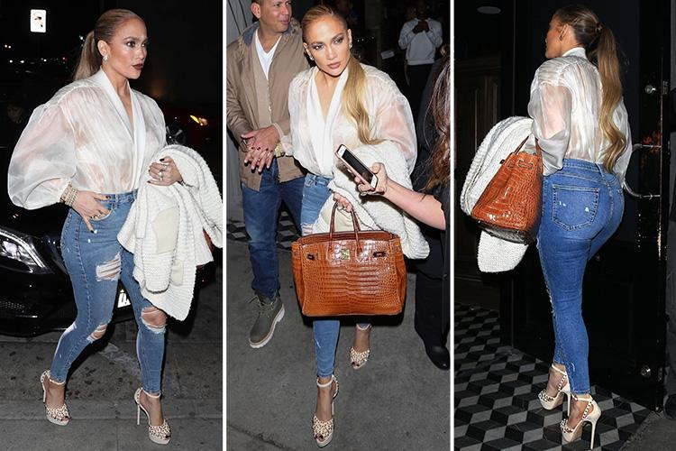 Jennifer Lopez wears VERY tight jeans and a sheer top for dinner date with boyfriend Alex Rodriguez