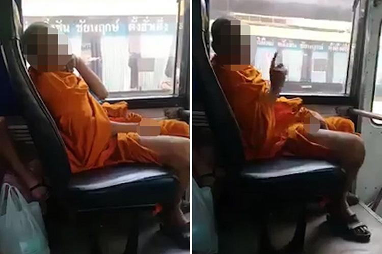 Monk grins as he pulls up robes and 'pleasures himself' on bus while staring at woman's legs