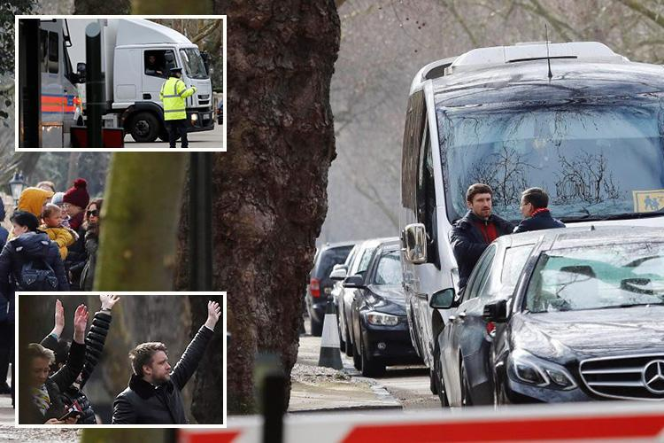 Russian diplomats and their families seen leaving Britain after being kicked out by Theresa May as removals van visits embassy