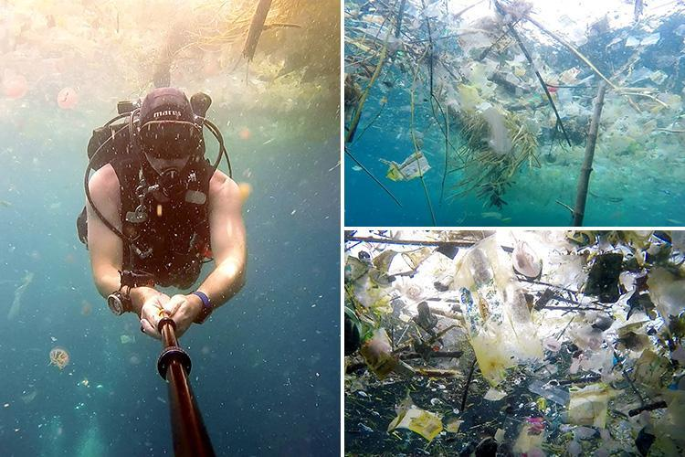 Horrified British diver reveals ocean off picturesque holiday hotspot Bali is completely clogged with plastic that's killing wildlife