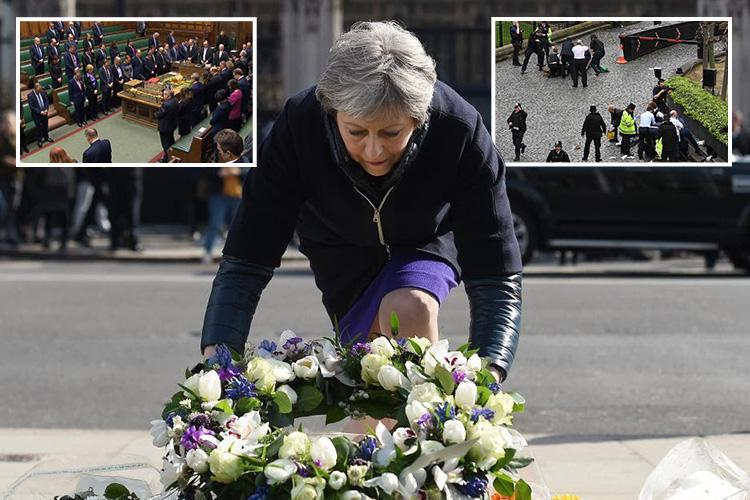 Theresa May vows to defy terrorists who 'seek to silence democracy' on the anniversary of attack on Parliament