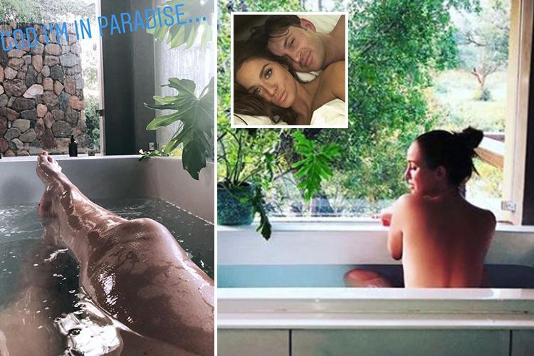 Vicky Pattison poses naked as she enjoys a soak in the bath during luxury holiday with fiance John Noble
