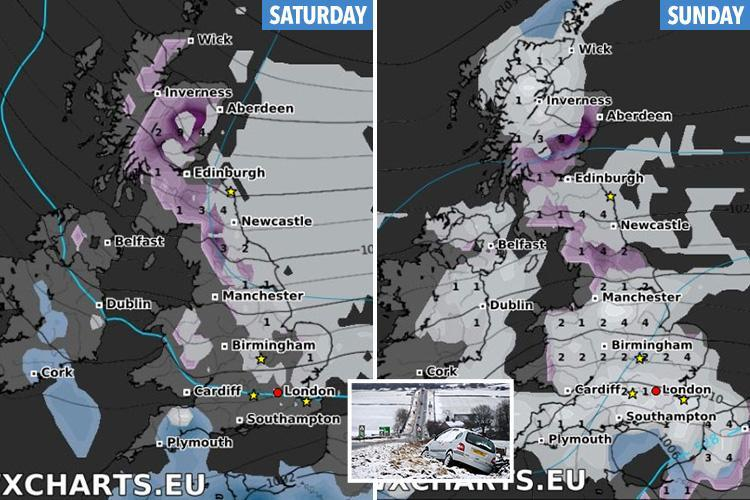 UK weather forecast to sling Britain back in the freezer this weekend with 'Beast from East 2.0' threatening sleet and snow 'almost everywhere'