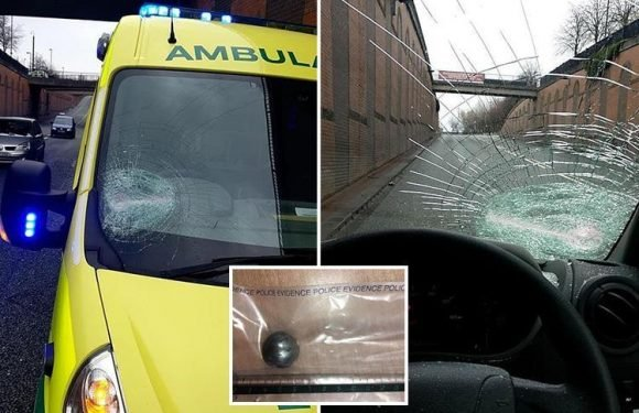 Thugs smashed windscreen of ambulance on 999 call with steel ball disguised as a snowball