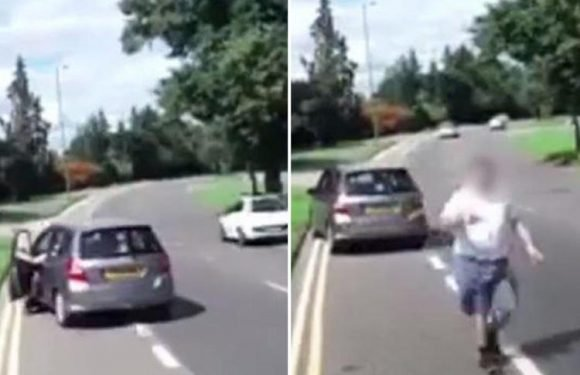 Moment road rage motorist takes van man's keys for 'driving up wife's a***' caught on dash cam