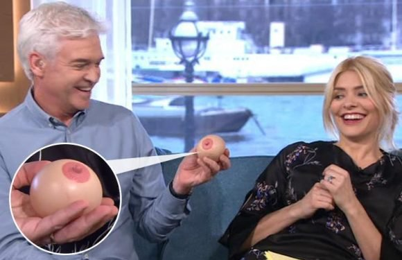 Holly Willoughby and Phillip Schofield squeeze a boob stress reliever after laughing hysterically at woman who lost bag of sex toys
