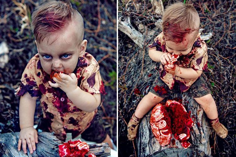 Mum hits back after being slammed for zombie photoshoot which saw her one-year-old eating a BRAIN cake… but what do YOU think?