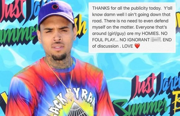 Chris Brown shrugs off 'ignorant' choking accusations and insists there was 'no foul play' – nine years after being convicted of beating ex-girlfriend Rihanna