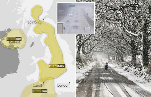 Snowstorm to batter large parts of Britain on Bank Holiday Monday threatening travel chaos