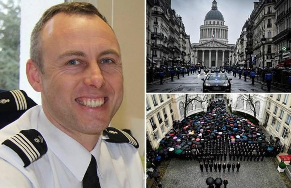 French hero cop's wife leads tributes to officer killed after sacrificing himself in ISIS hostage siege