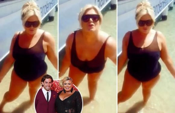 Gemma Collins shimmies in a black swimming costume after denying romance with Arg is all for Towie storylines