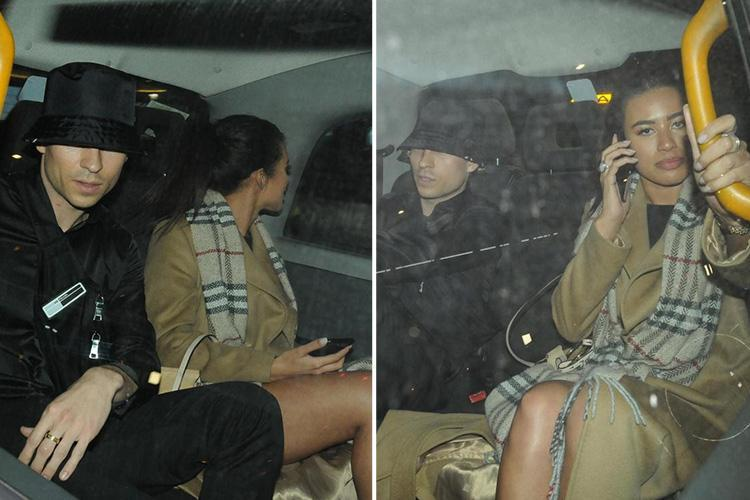Love Island's Montana Brown and Joey Essex pictured leaving Tric awards together in a black cab