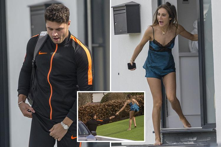 Megan McKenna runs out of her house in a skimpy nightie after Mike Thalassisitis leaves his phone behind