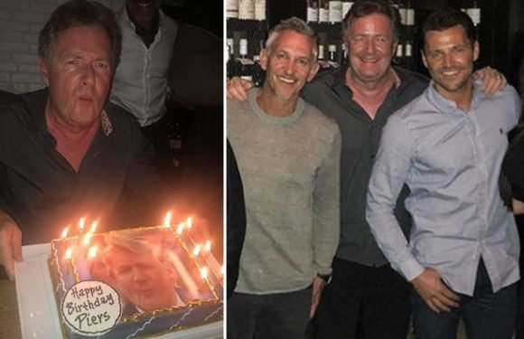 Piers Morgan reveals hilarious Donald Trump birthday cake as he parties with Mark Wright in Los Angeles