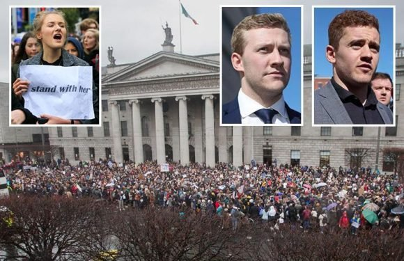 Thousands of women protest in Ireland after two rugby stars who boasted about sex on WhatsApp are CLEARED of rape