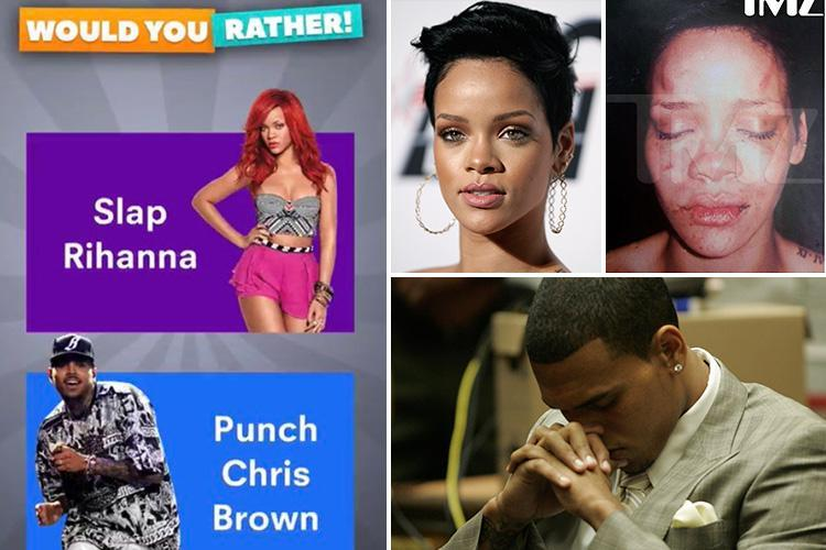 Snapchat 'sorry' after users asked if they'd rather 'slap Rihanna' or 'punch Chris Brown' in advert