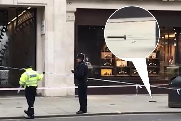 Moped gang wielding SAMURAI SWORDS raid luxury watch shop on London's Regent Street in front of terrified Sunday shoppers