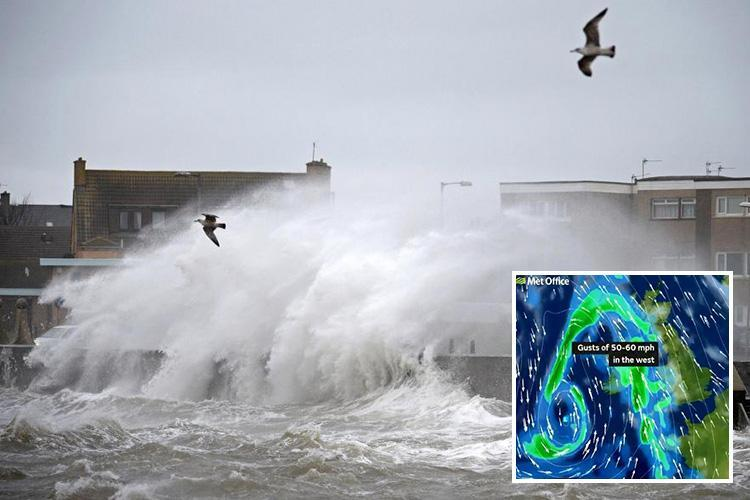 Met Office issues UK weather warning for floods as a month's rain and 60mph gales to disrupt trains, roads and flights today – before snow returns from tomorrow