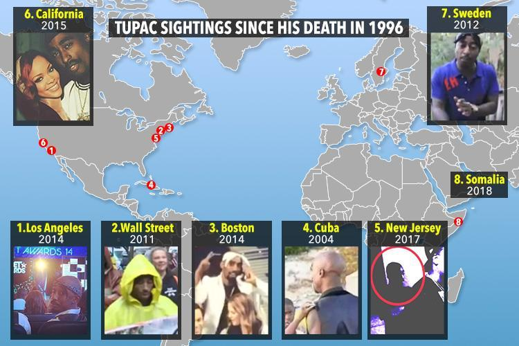 Map reveals places Tupac Shakur has been spotted 'alive' since he was gunned down during drive-by hit in 1996