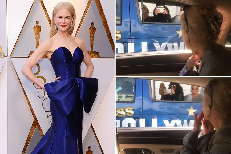Nicole Kidman stuns tourists as she parks next to their bus on way to the Oscars 2018 ceremony