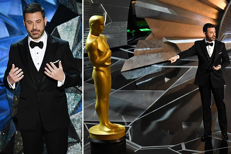 Oscars 2018 host Jimmy Kimmel makes swipes at Weinstein and Trump and says statue is 'perfect man because he keeps his hands to himself'