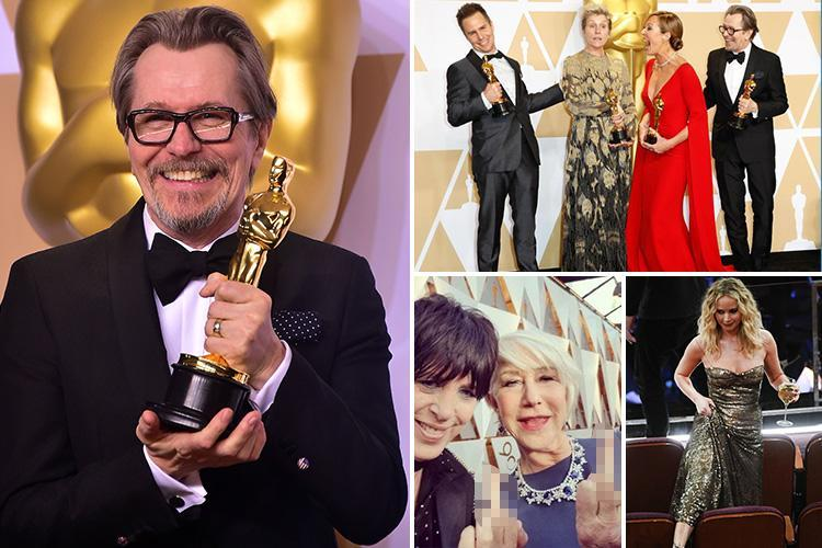 Oscar-winner Gary Oldman reveals he wants to swap his usual drama roles for comedy as Jennifer Lawrence jokingly climbs over seats with wine glass in hand