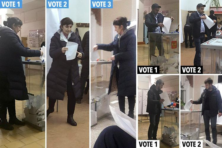 Damning Russian 'election rigging' pictures show voters casting Putin ballots at more than one polling station