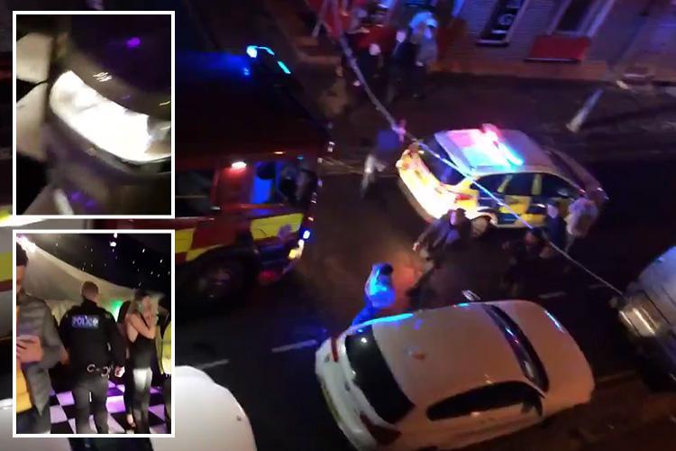 Horror as man 'kicked out of nightclub' drives car into the building mowing down scores of people attending Giggs grime concert