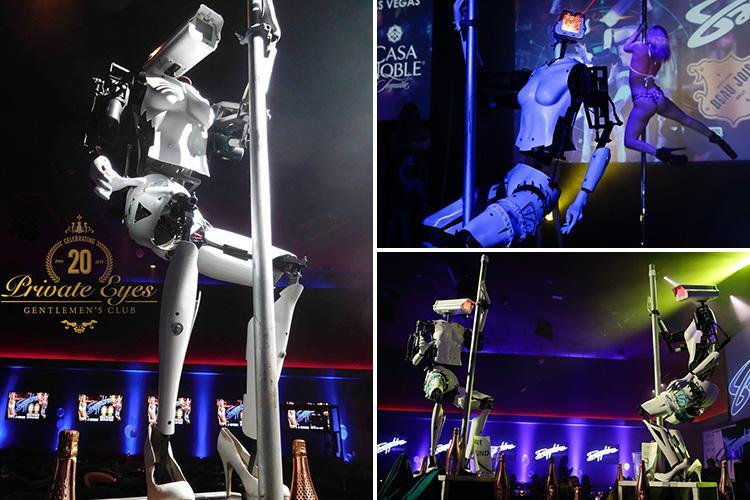 Pole-dancing robots don garters for first ever UK performance at gentlemen's club