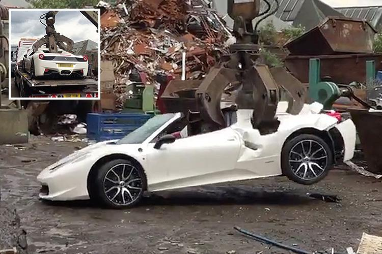 Soul-destroying moment £200,000 Ferrari 458 Spider is 'wrongly' crushed by police – as millionaire owner vows to sue cops